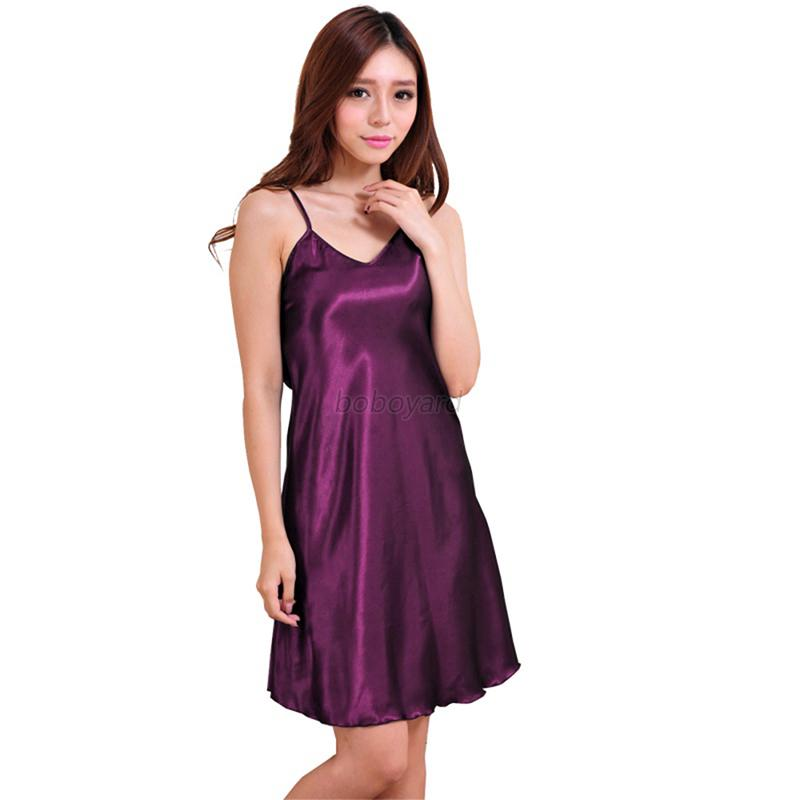 Women Sexy V Soft Lingerie Nightgown Home Nightwear Long ...