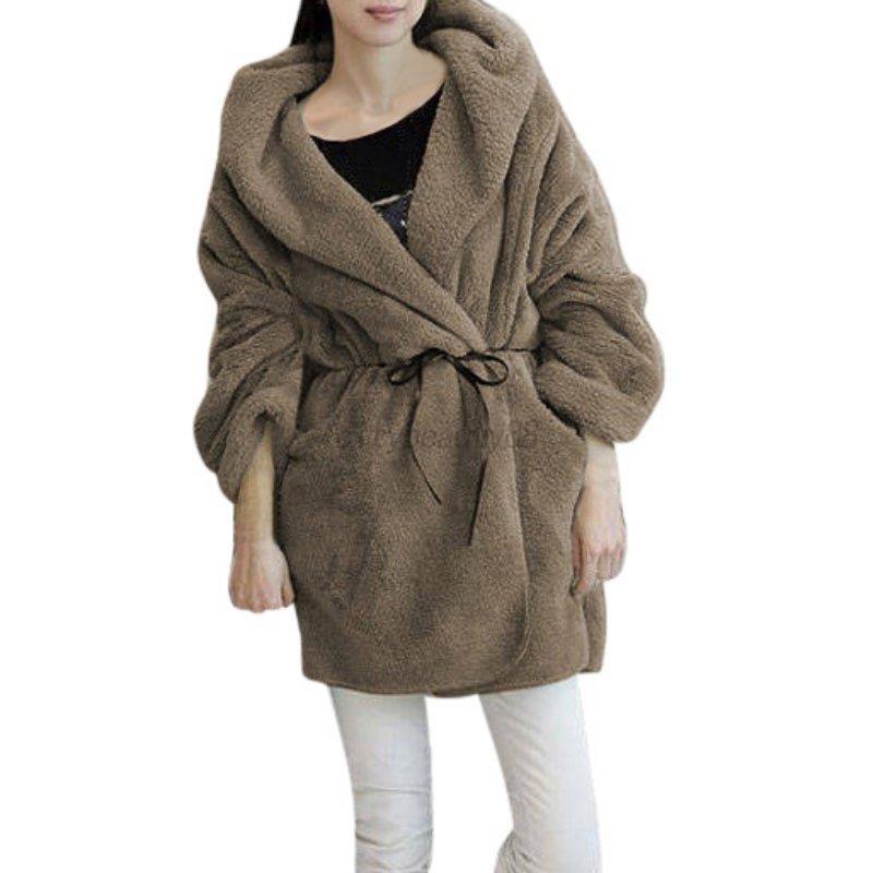 USA Women Warm Long Coat Fluffy Fleece Fur Hooded Jacket Winter ...