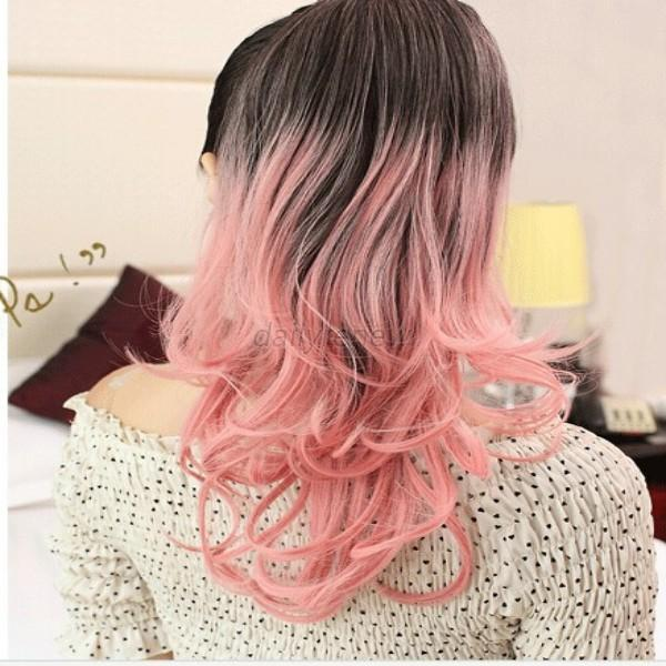 womens wigs colorful long curly hair hairpieces wavy ombre