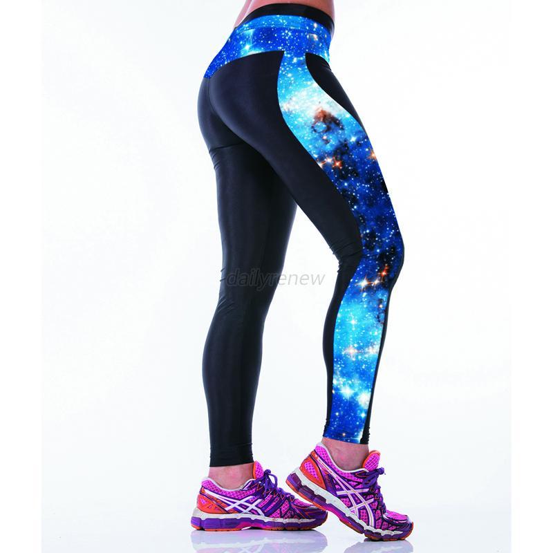 women lady yoga running sport pants high waist leggings fitness trousers d62 ebay. Black Bedroom Furniture Sets. Home Design Ideas