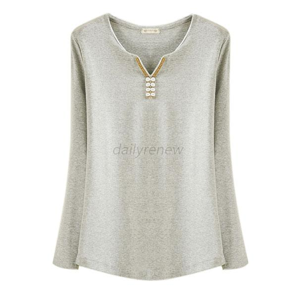 Women Cotton Soft Long Sleeve V Neck Solid Casual T Shirt