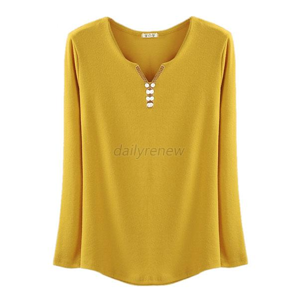 Women cotton soft long sleeve v neck solid casual t shirt for Soft cotton long sleeve shirts