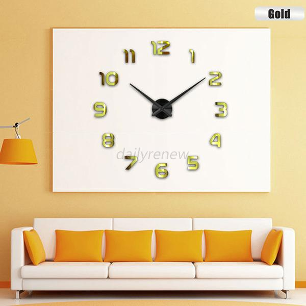 Large Number Wall Decor : Diy large number wall clock d mirror sticker modern home
