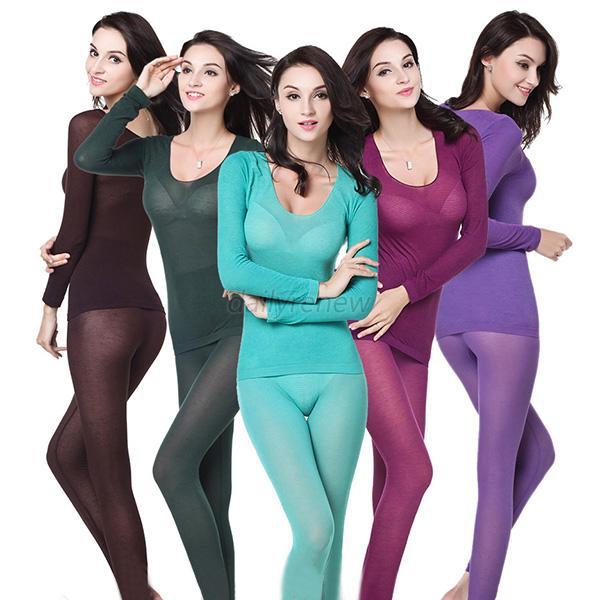 Women Ultrathin Modal Long Johns Thermal Underwear Tops Pants Set ...