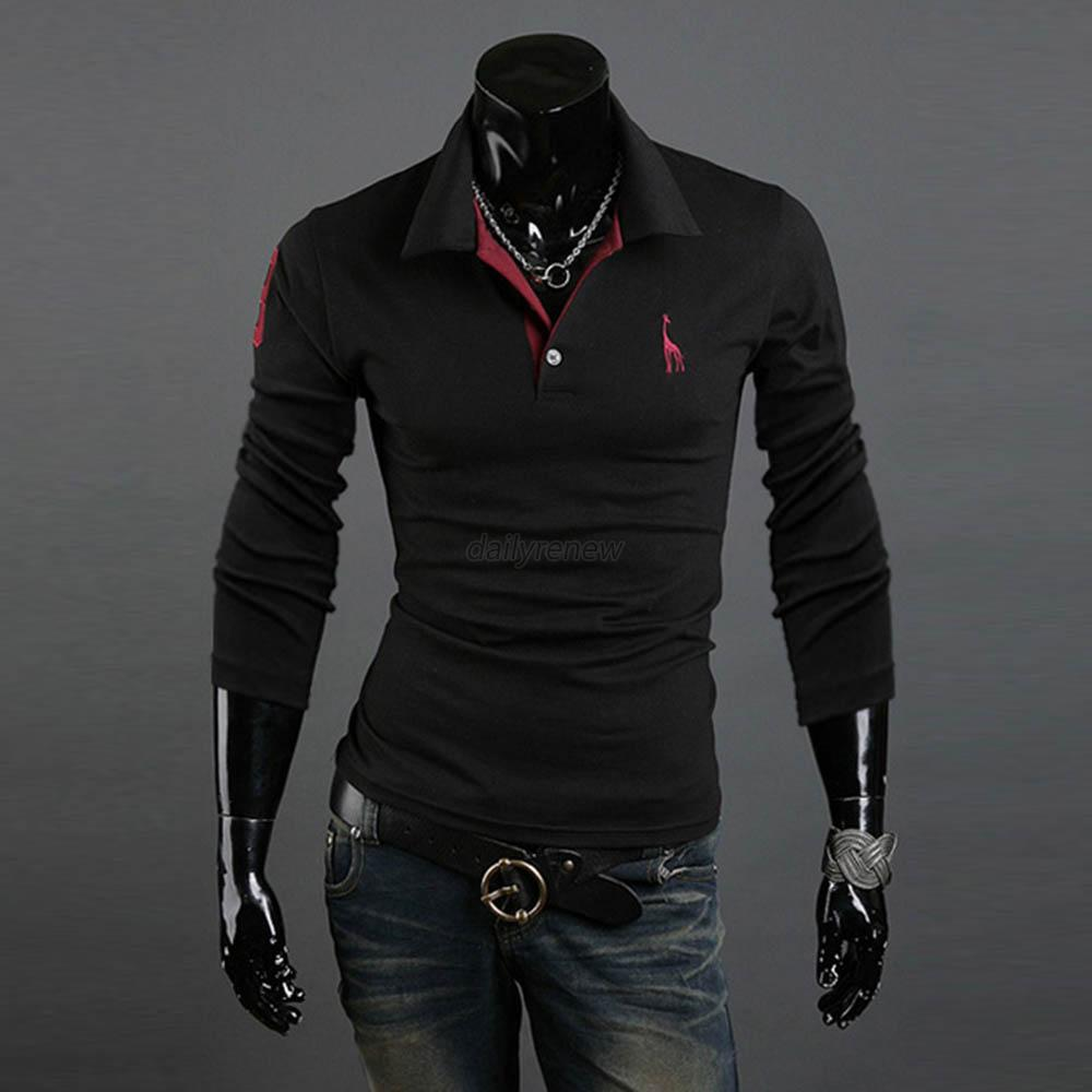 Men's Polo-Shirt Slim Fit Long Sleeve T-Shirts Casual Tee ...