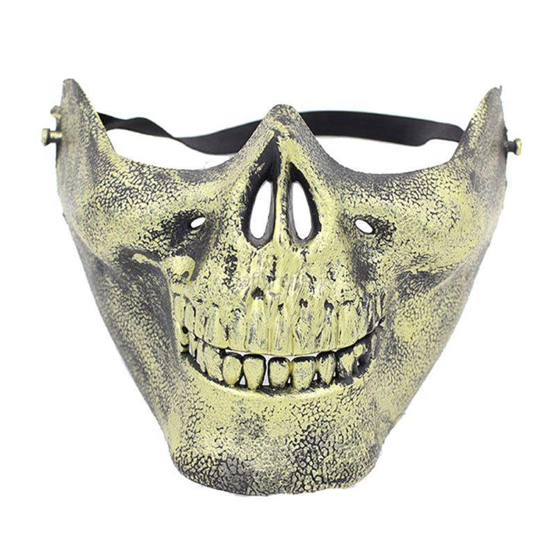 Skeleton Ghost Skull Skeleton Half Face Mask Biker Costume ...