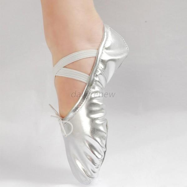 Black Leather Ballet Shoes With Elastic