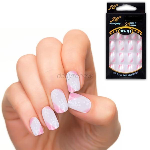 Artificial Nail Tips: Manicure Acrylic Nail Tips Full French False Nail Art Tips