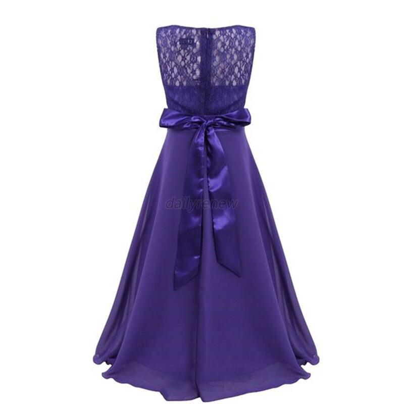 Lace Flower Girl Kids Wedding Party Bridesmaid Formal Pageant Long ...