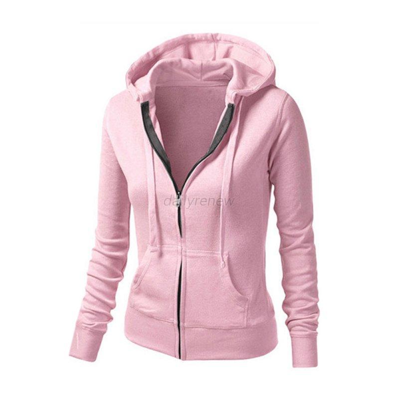 Women Plain Hoodie Ladies Hooded Zip Zipper Top Sweat