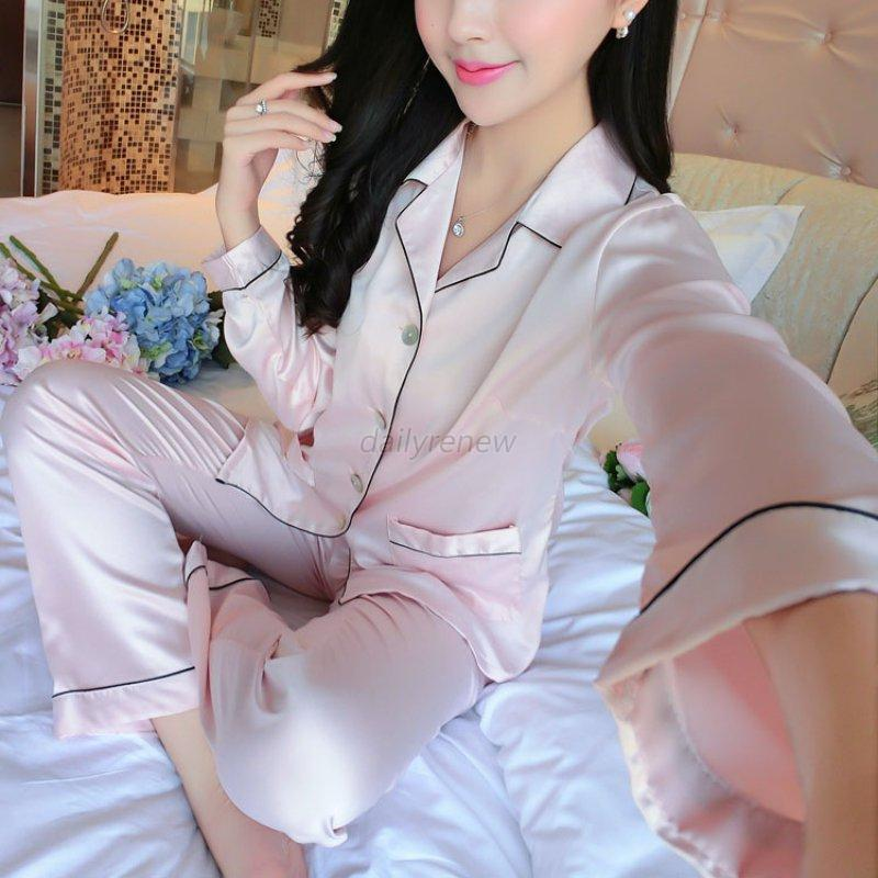 Women-Men-Silk-Satin-Pajamas-Pyjama-Sets-Sleepwear-Nightwear-Shorts-Homewear-Set