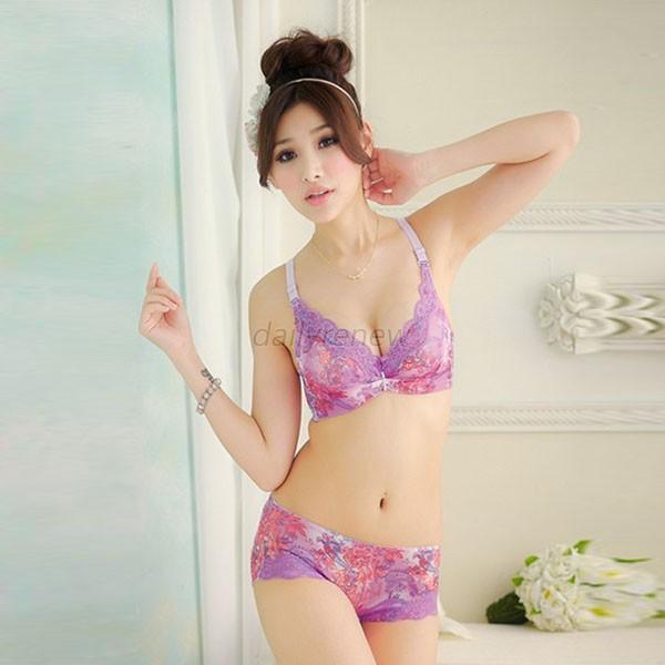 Sexy Women's Lingerie Underwear Lace Floral Cute Bra Suit ...