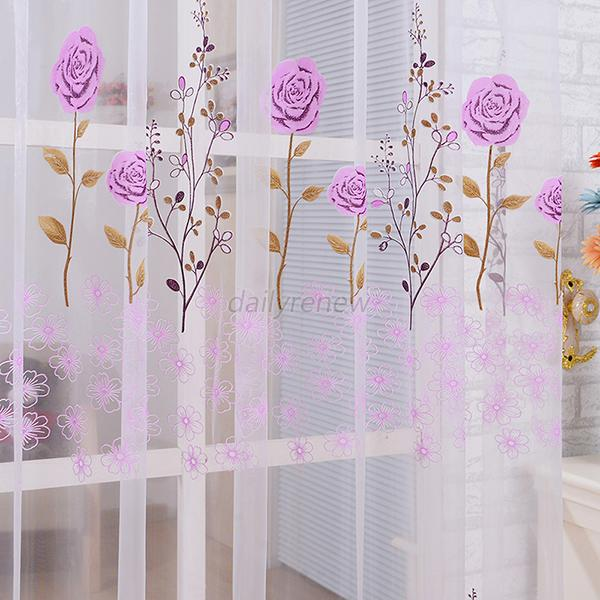 Sheer Panel Door Decor Curtain Beads Tassel Floral Voile Divider ...