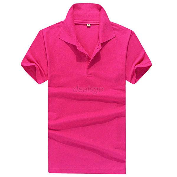 New men 39 s solid casual slim fit short sleeve polo shirt t for Mens slim fit short sleeve shirts