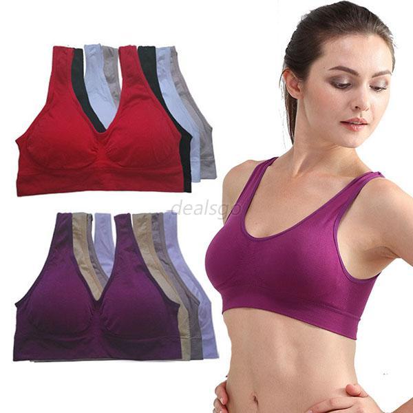Ladies Gym Sports Bra Vest Tank Cropped Tops Womens Yoga Underwear ... 7f2199b705