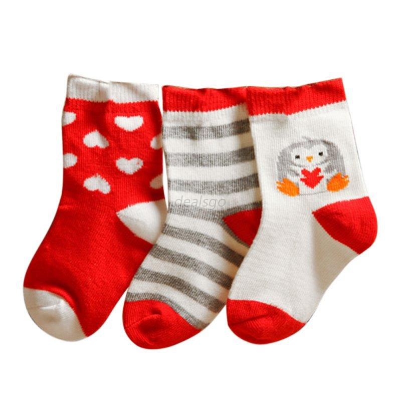3 Pairs Newborn Baby Boy Girl Cartoon Cotton Socks Infant