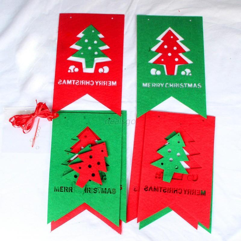 Xmas Christmas Tree Hanging Flag Banner Ornament Gift Home ...