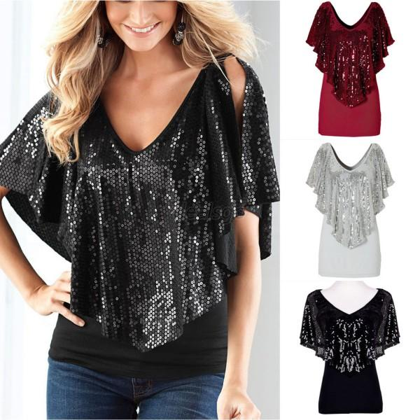 Lady Women Slim Top Deep V Neck Batwing Cotton Blouse Bling Tops