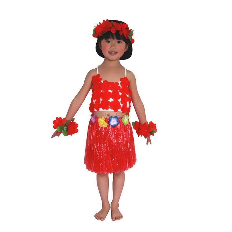 Kids Girls Hawaiian Grass Skirt Hula Dress W/Tops Beach Party Dancing Costume | eBay