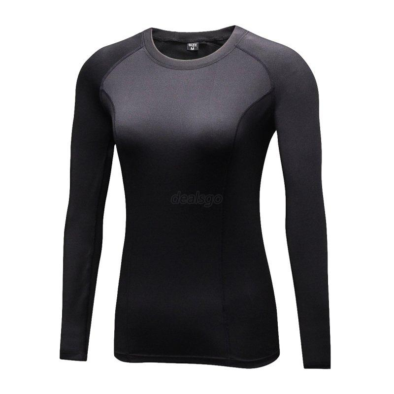 Women sports compression base layer tight shirt solid soft for Womens base layer shirt