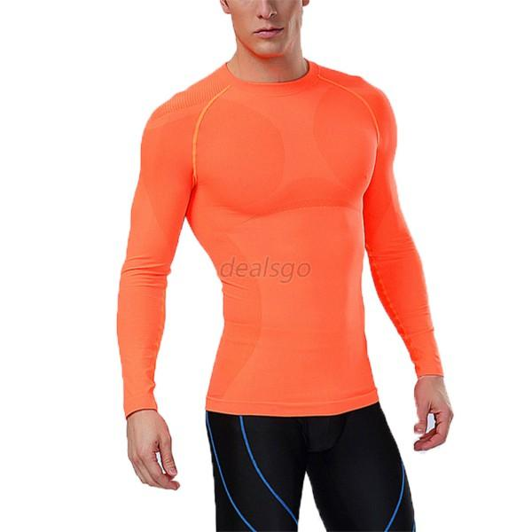 M-XXL Men Compression Long Sleeve Sports Tight Shirts Fitness GYM ...