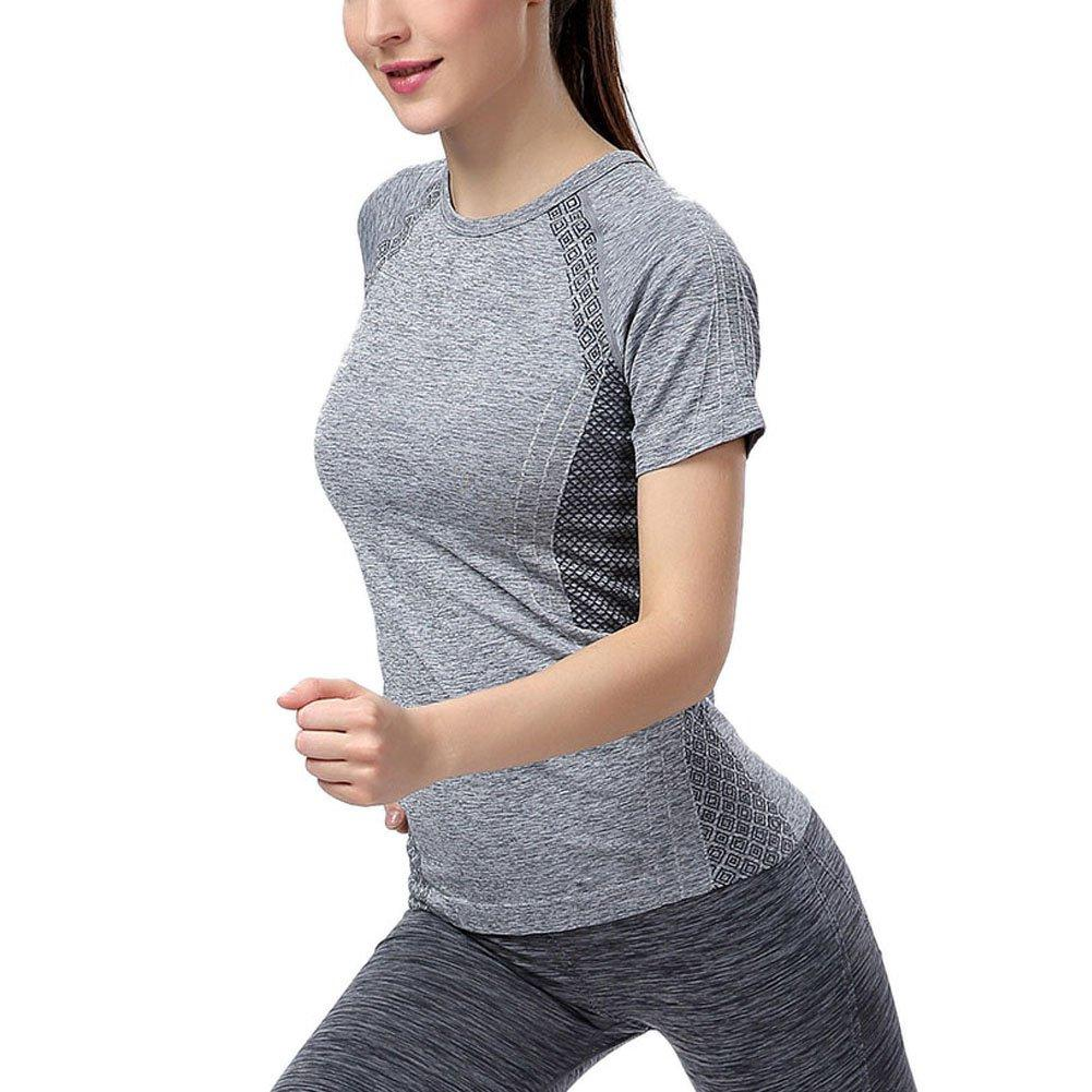 Workout Tops: Women Sports Breathable Dry Quick Sports Tops Short Sleeve