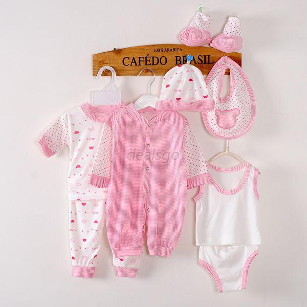8Pcs Newborn Infant Kids Baby Boy Girl T shirt Tops Pants