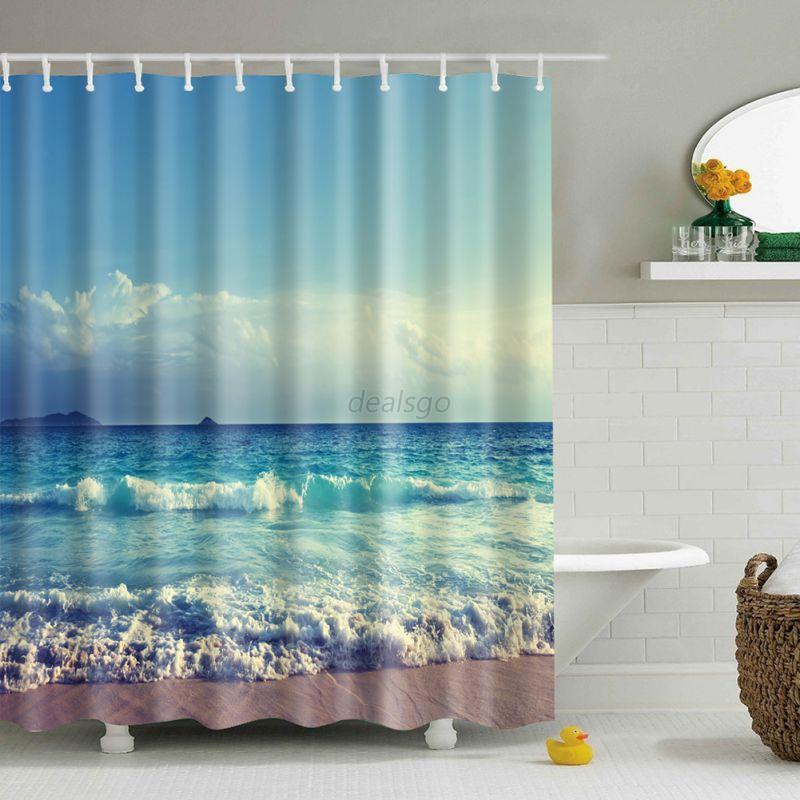 Waterproof Bathroom Shower Curtain Sheer Hanging Panel 180 180cm 12 Hooks Set Ebay