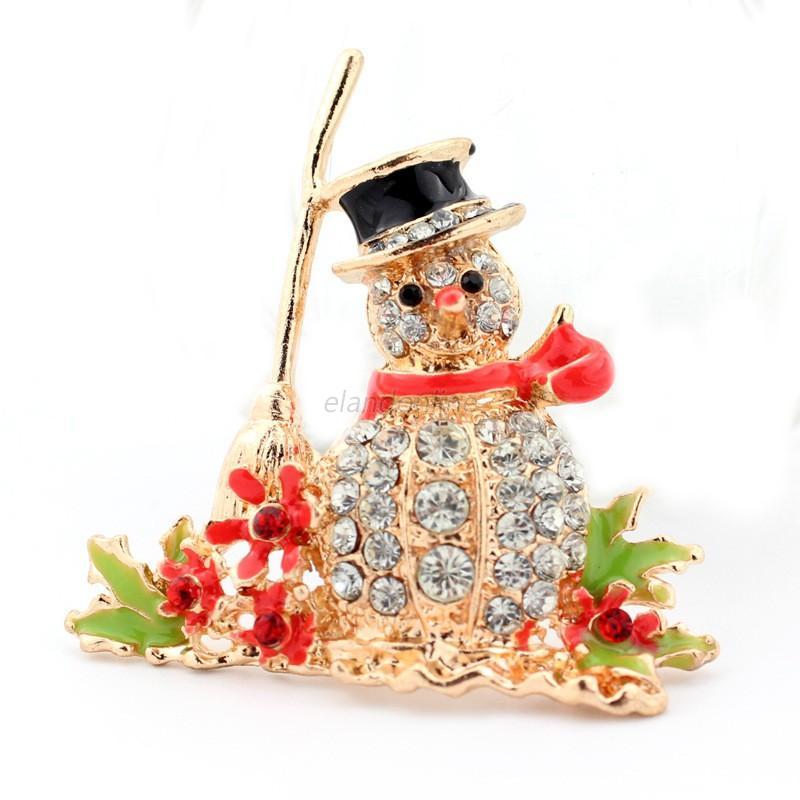 Christmas xmas rhinestone crystal enamel brooch pin