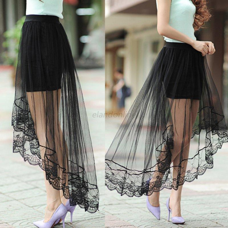 Women-Tulle-Lace-Floral-Irregular-Long-Maxi-Skirt-Dress-Gauze-See-Through-Mesh