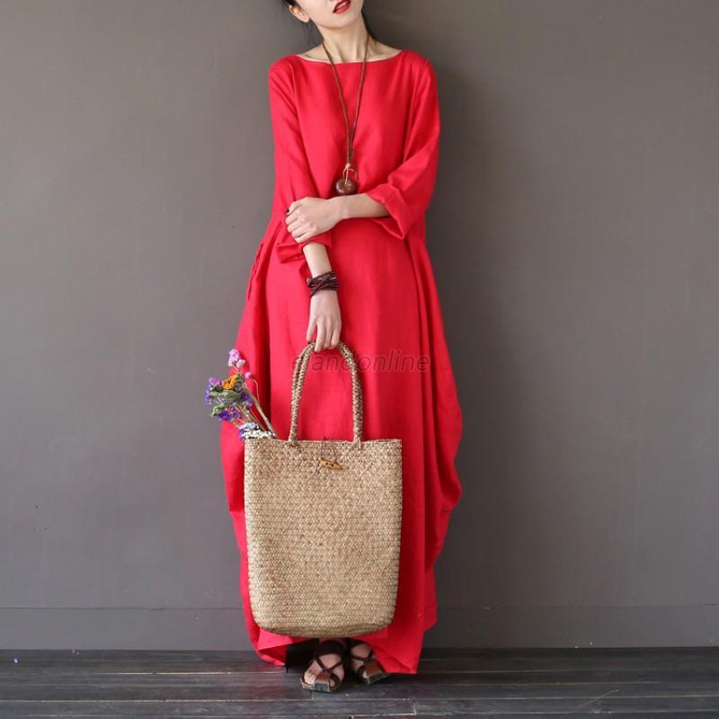AU-Women-Bpho-Loose-3-4-Sleeve-Batwing-Casual-Soild-Cotton-Baggy-Long-Maxi-Dress