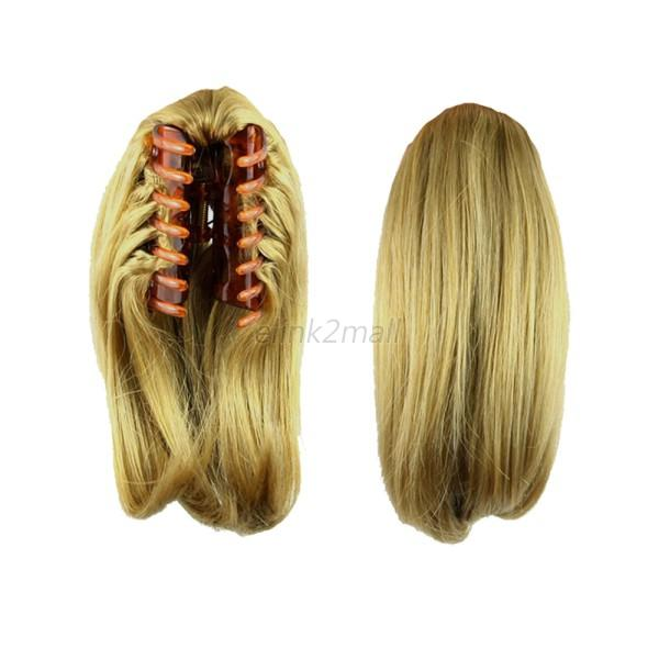 Lady Fashion Ponytail Claw On Hair Piece Straight Women