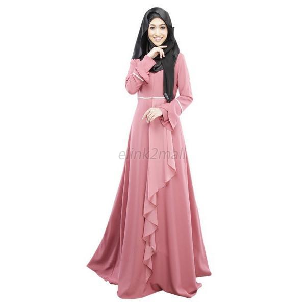 Abaya Jilbab Kaftan Lotus Leaf Maxi Dress Islamic Maxi Evening Party ...