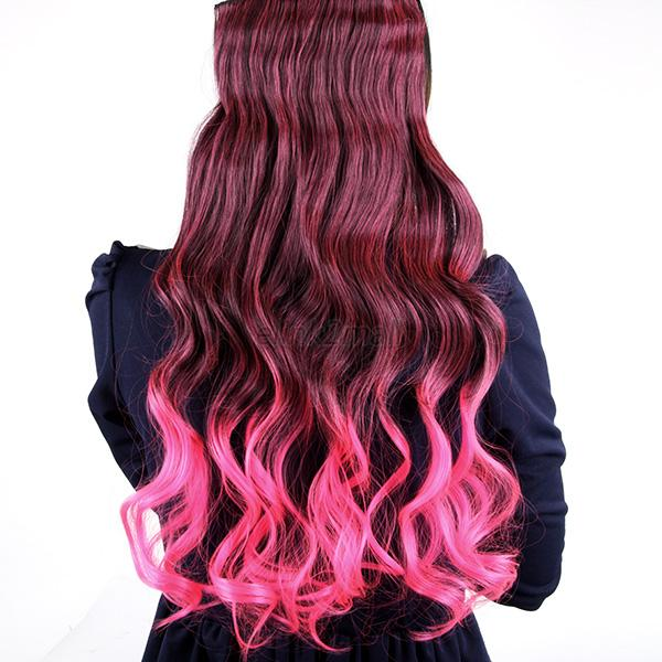 Women multi color straight long ombre hair clip in hair extensions fashion multicolor pmusecretfo Images