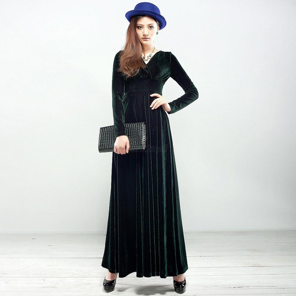 Laides-Women-V-Neck-Velvet-Long-Sleeve-Dress-Club-Party-Long-Maxi-Dress-Elegant