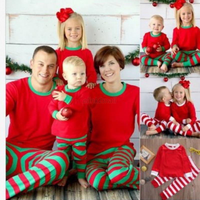 Christmas-Family-Matching-Long-Sleeve-Top-Pants-Pajamas-Kid-Mom-Daddy-Nightwear