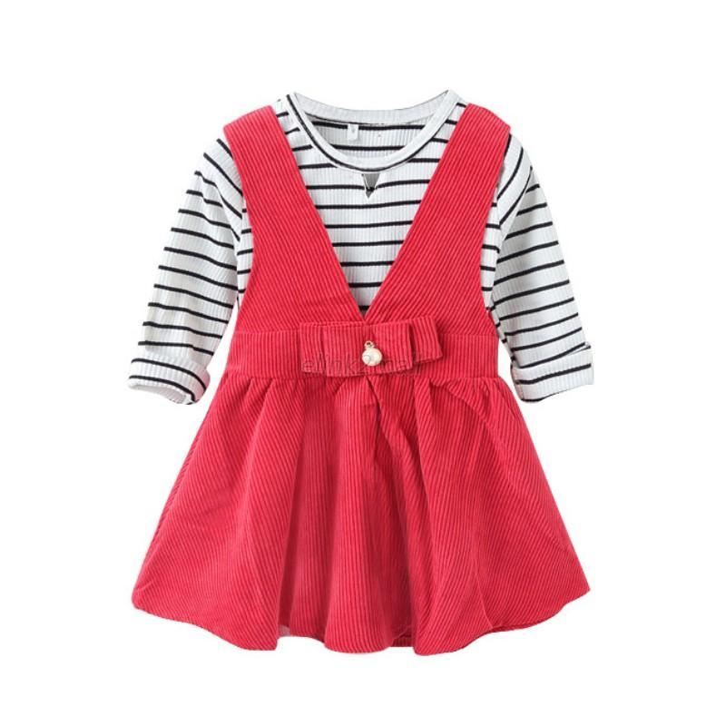Kids Baby Girls Long Sleeve Striped T Shirt Tops Skirt