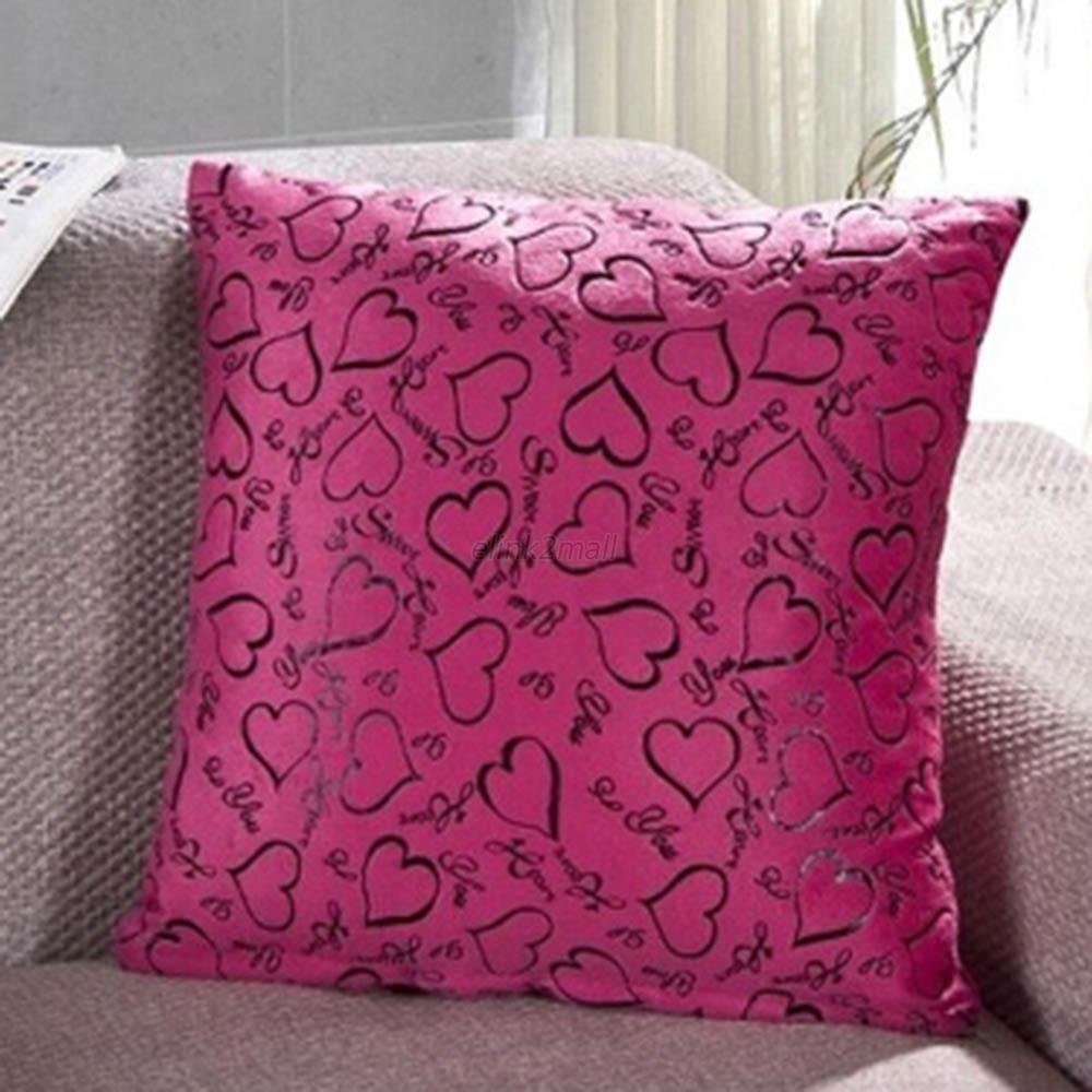 Decorative Pillow Case Patterns : Heart Pattern Cotton Linen Cushion Cover Decorative Throw Pillow Case eBay