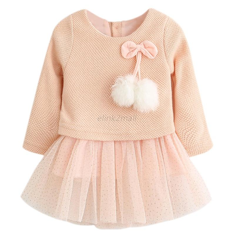 Baby-Girl-Long-Sleeve-Knitted-Tutu-Dress-Toddler-Bow-Fur-Ball-Kids-Party-Dress