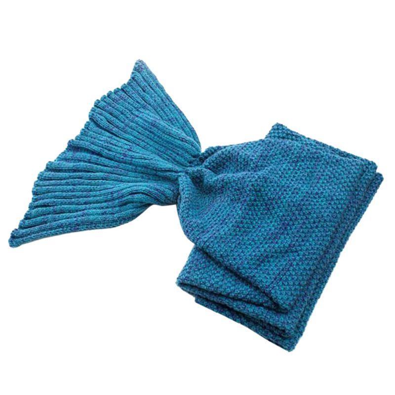 Mermaid-Fish-Soft-Kids-Adult-Warm-Sleeping-Bag-Tail-Blanket-Crochet-Knitted-Bed