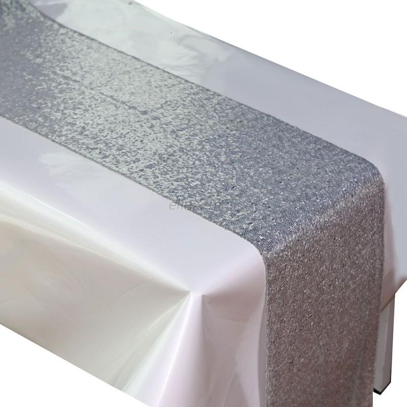 Silver Glitter Sequin Bed Table Runner Sparkly Wedding