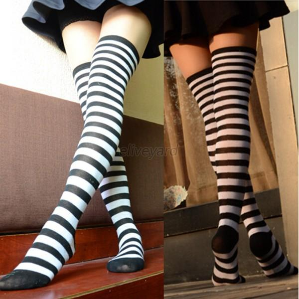Fashion Women Girl Soft Cotton Striped Over Knee Thigh ...