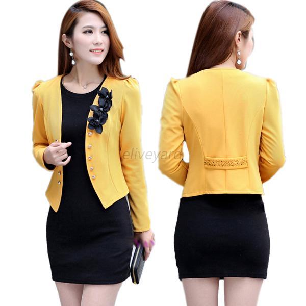 Fashion Korean Womens Long Sleeve Slim Short OL Suit Jacket Blazer ...