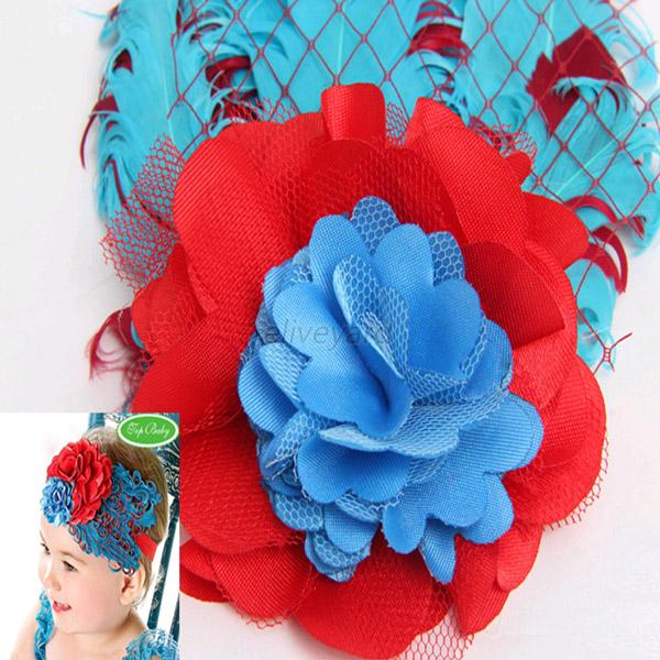 baby elastic lace flower peacock feather infant baby peacock feather hair band lace flower