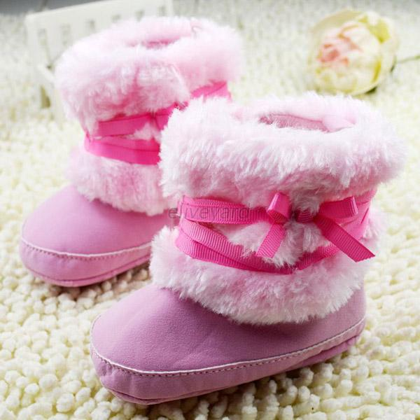 Cute Kids Baby Girl Winter Snow Boots Bowknot Ribbon Warm Baby ...