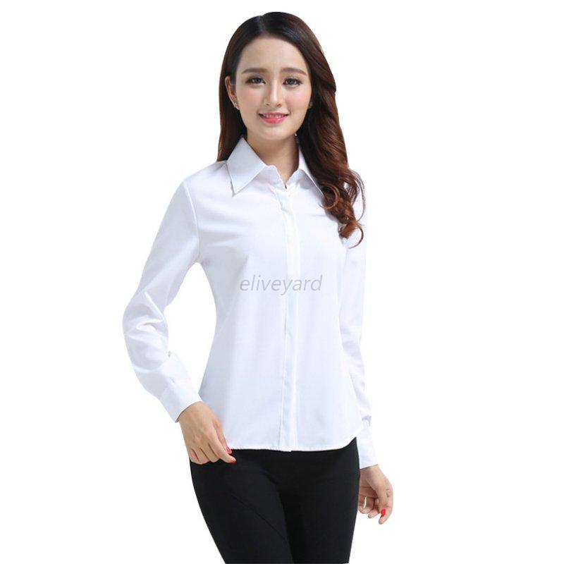 Fashion Women Long Sleeve Ol Career T Shirt Turn Down