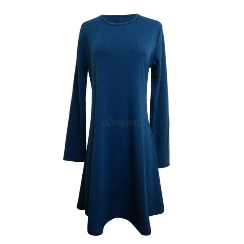 Fashion women casual round neck plain long sleeve tunic t Women s long sleeve shirt dress