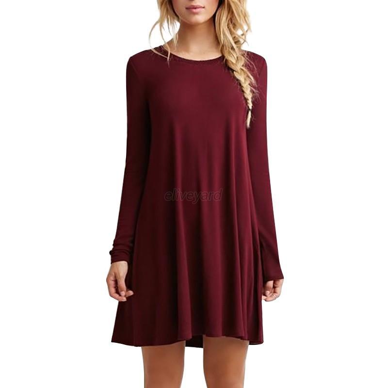 Fashion women casual round neck plain long sleeve tunic t for Long t shirt trend