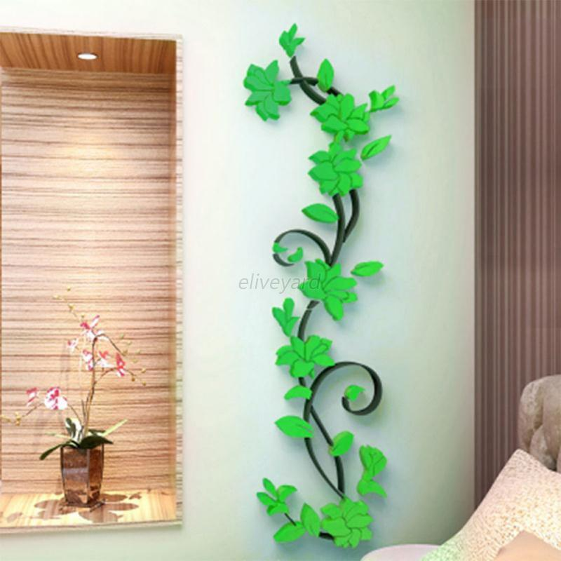 3d vase flower tree diy removable art vinyl wall stickers for Diy tree wall mural