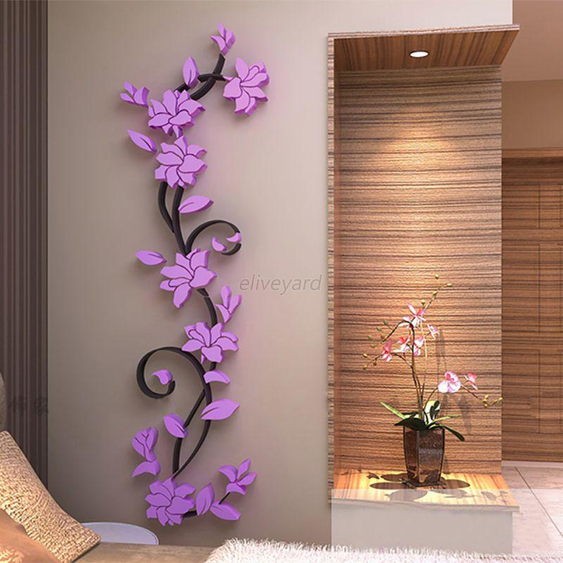Diy Home Decoration Wall Decals : D vase flower tree diy removable art vinyl wall stickers